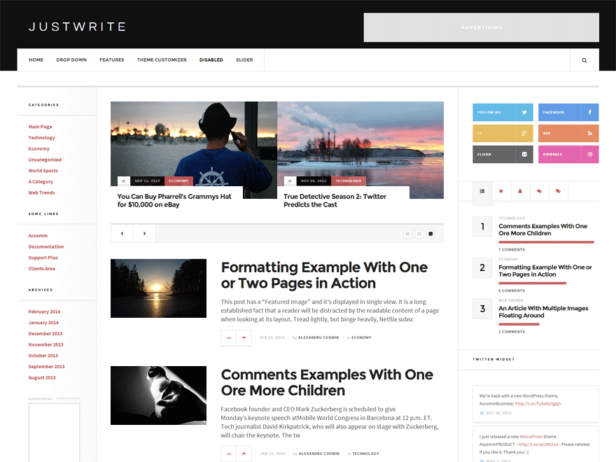 JustWrite wp theme for writers