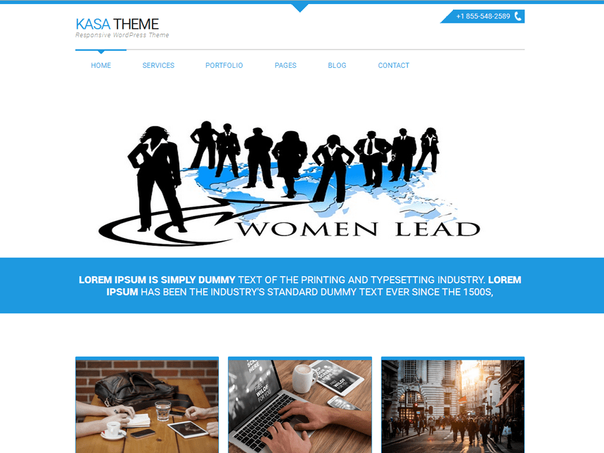 Kasa Blue free wordpress theme