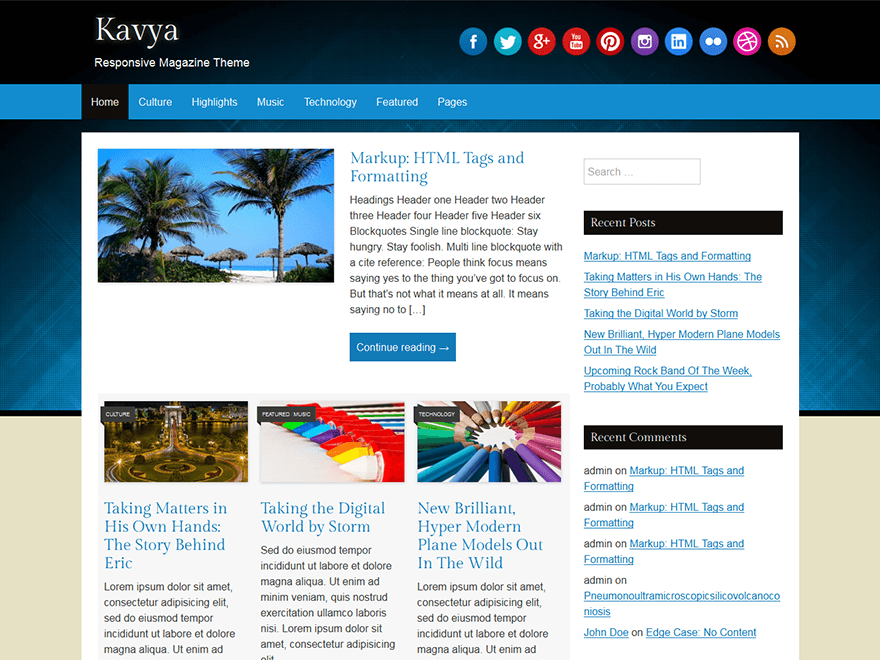 Kavya free wordpress theme