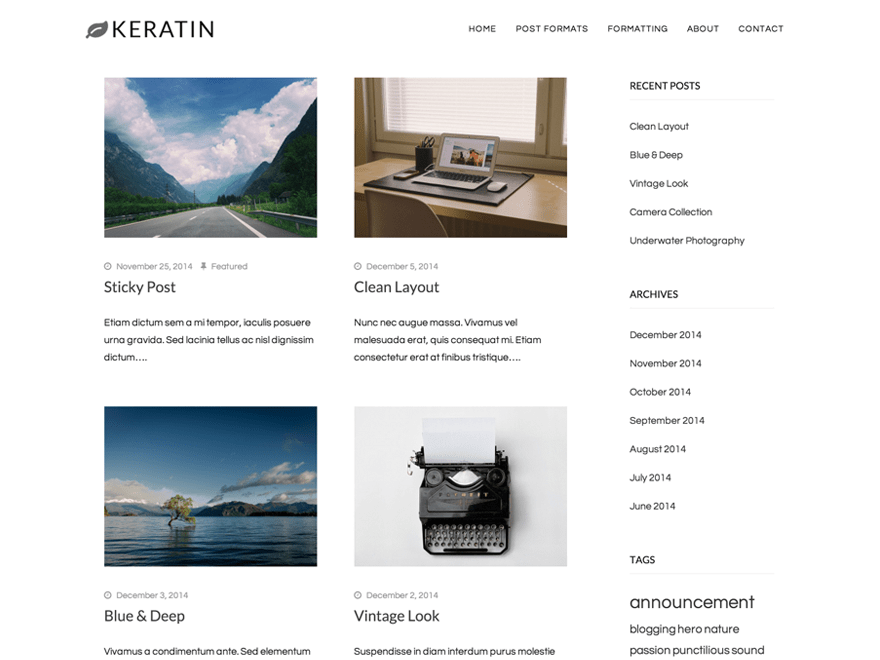 Keratin free wordpress theme