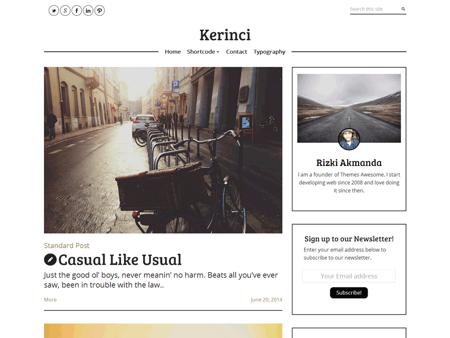 Kerinci Lite free wordpress theme
