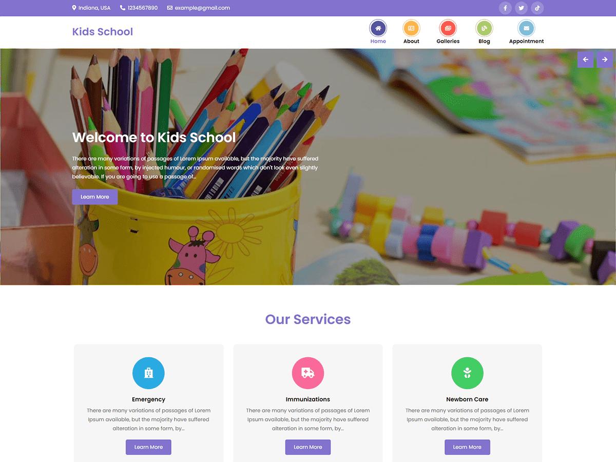 WordPress主题:Kids School
