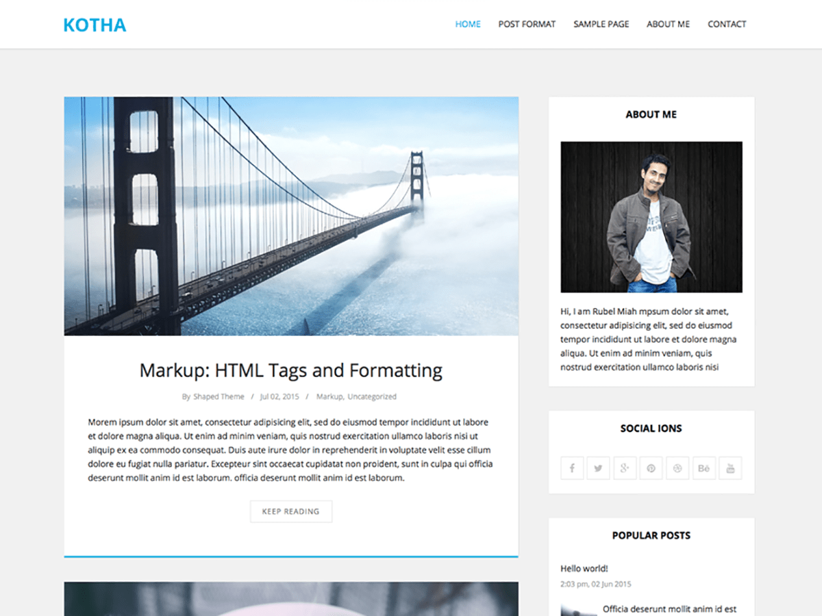 screenshot of kotha free WooCommerce theme