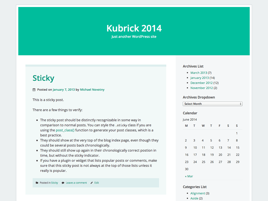 Kubrick 2014 free wordpress theme