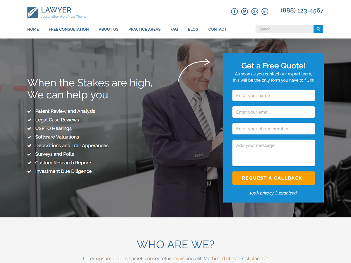Lawyer Landing Page — Free WordPress Themes
