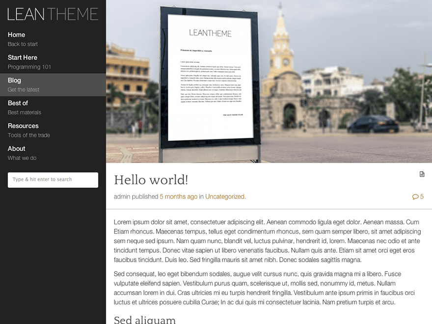 Lean free wordpress theme