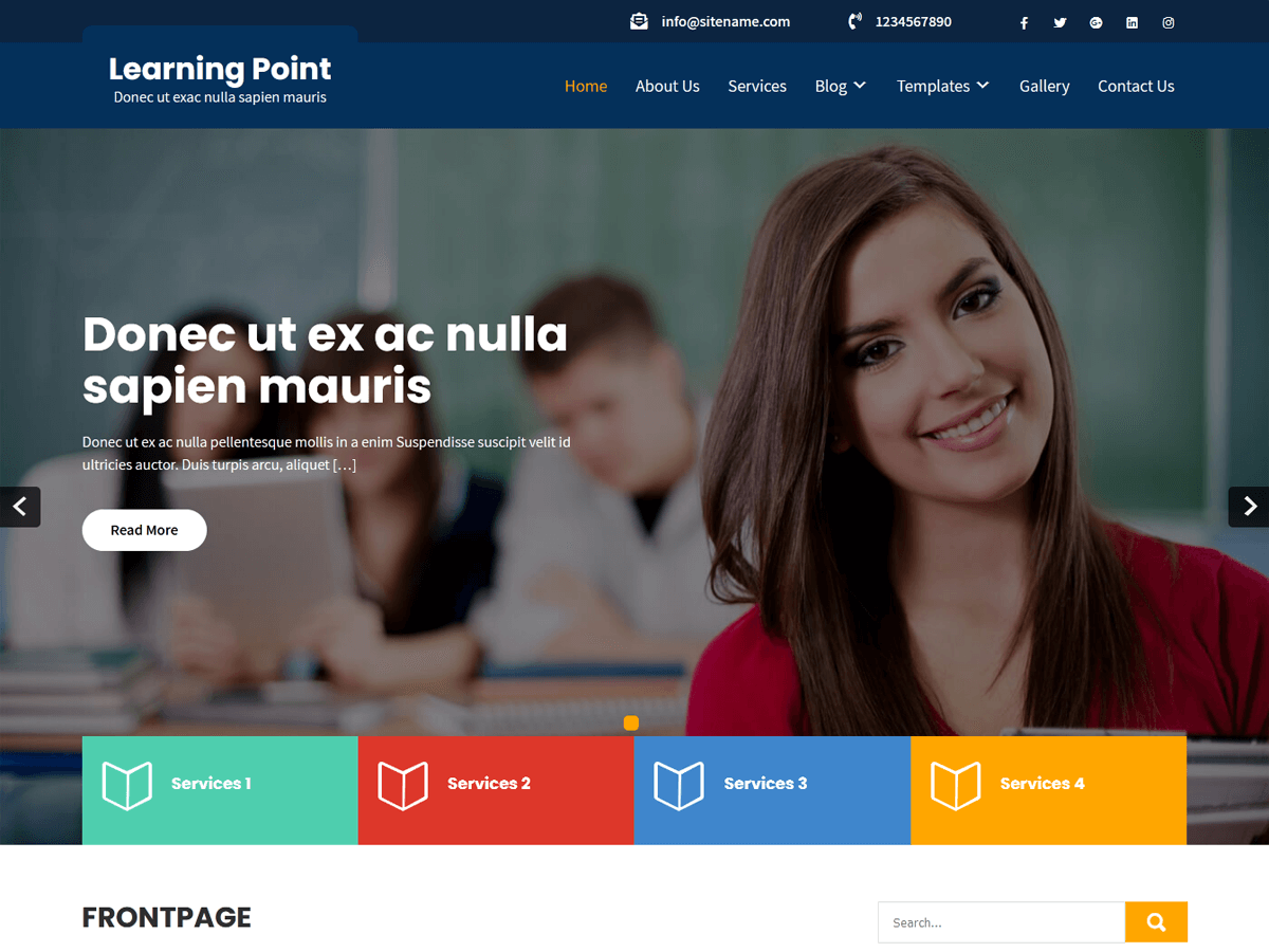 Learning Point Lite Free eLearning WordPress Theme