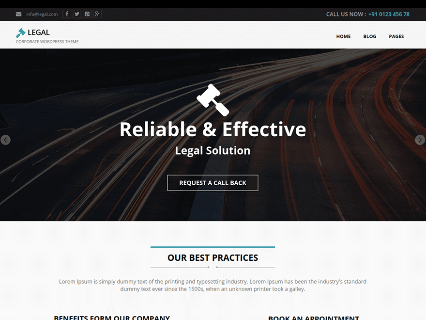 Legal free wordpress theme
