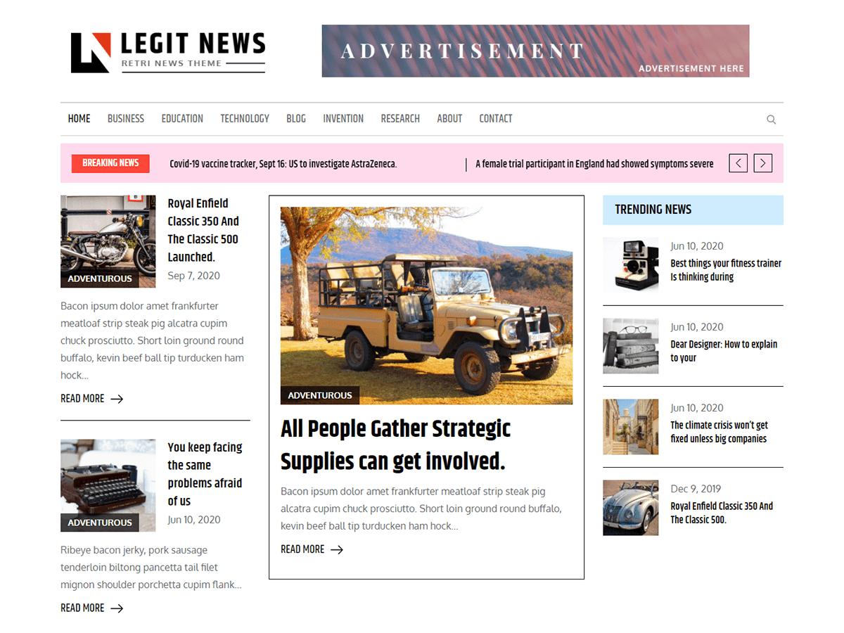 Legit News Free News WordPress Theme