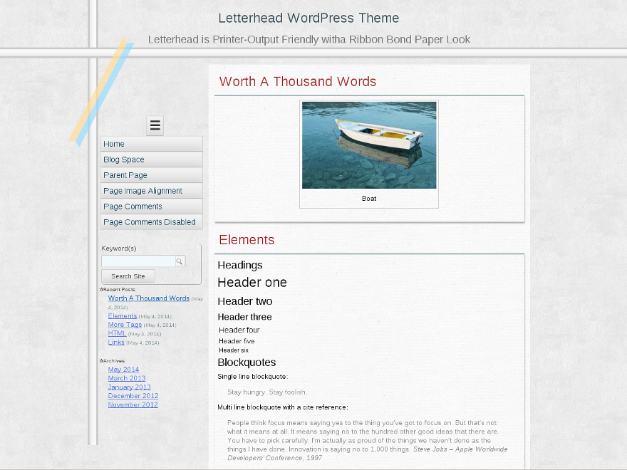 Letterhead free wordpress theme