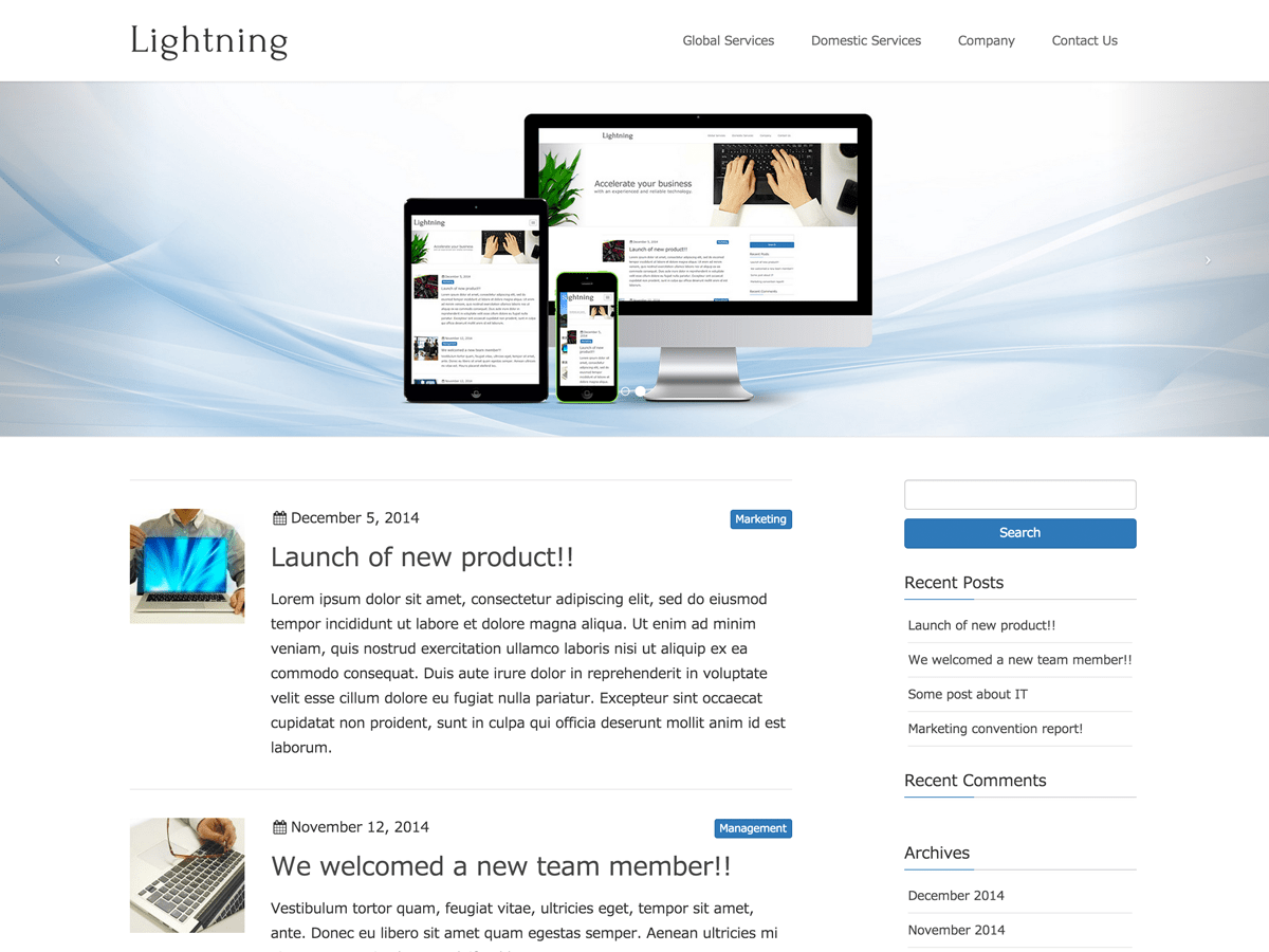 Lightning free wordpress theme
