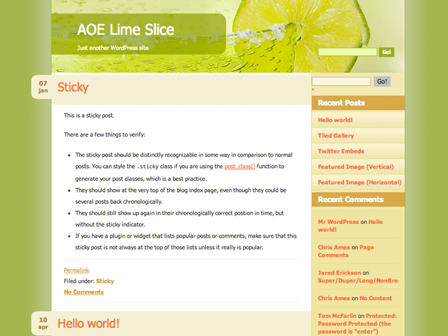 Lime Slice free wordpress theme