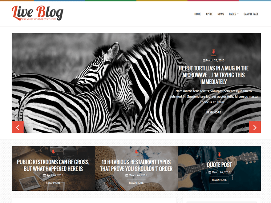 LiveBlog free wordpress theme