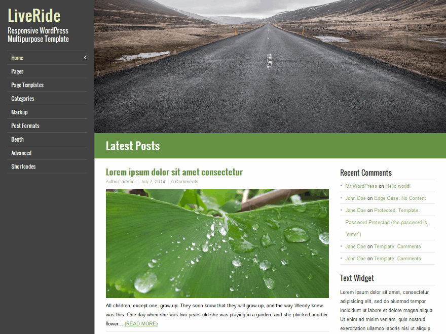 LiveRide free wordpress theme