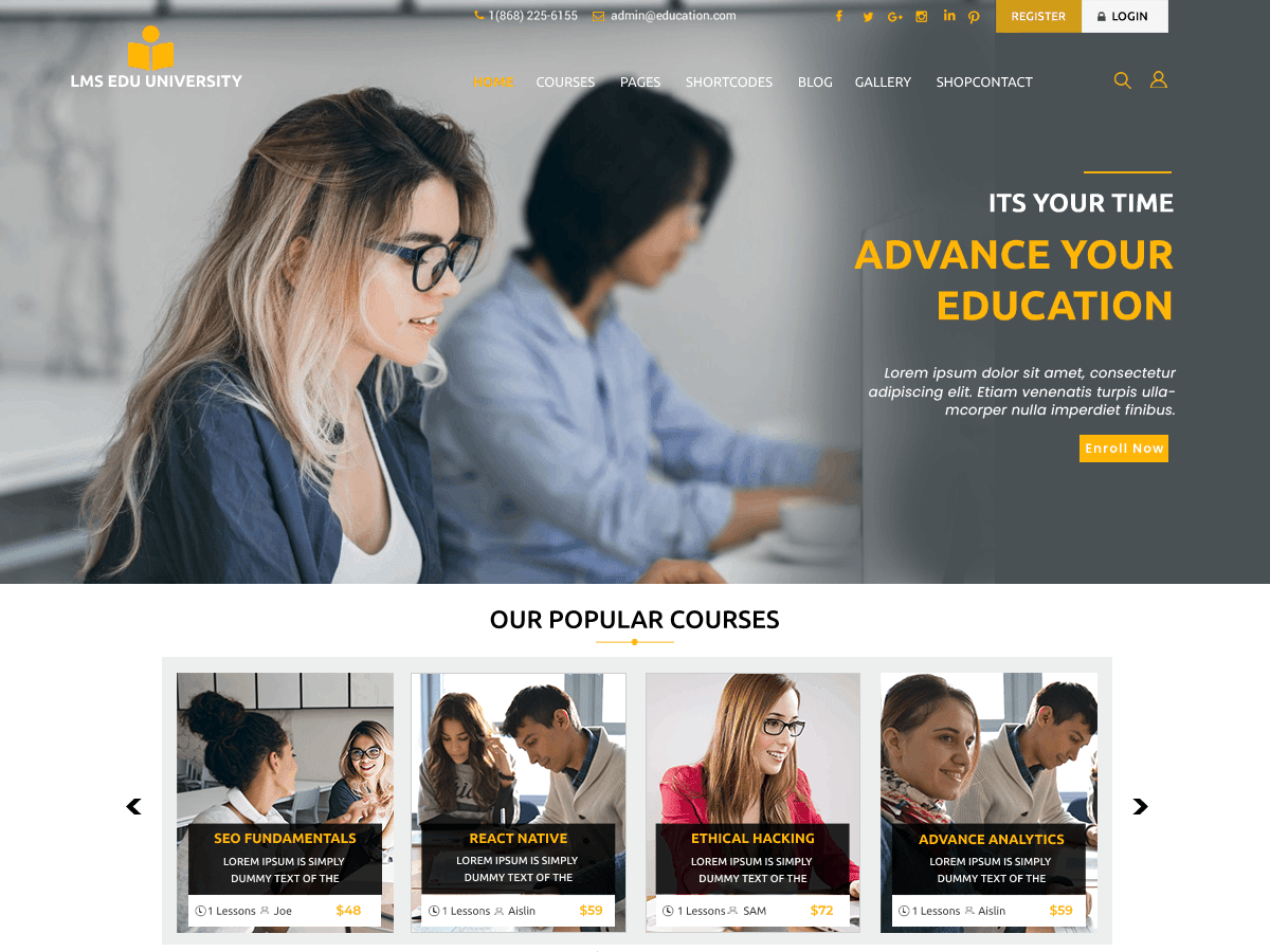 WordPress主题:LMS Education University