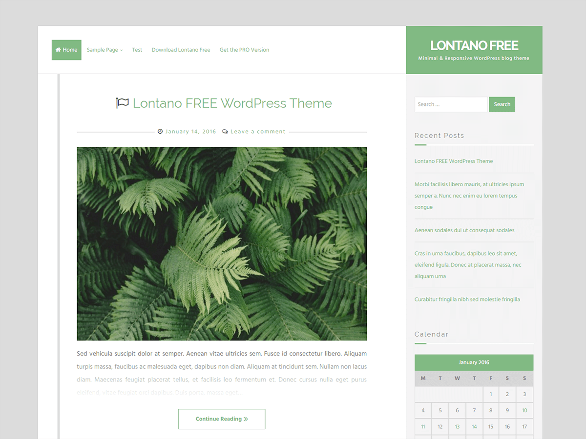 Lontano free wordpress theme