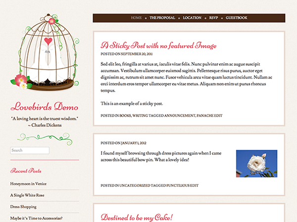 Lovebirds free wordpress theme