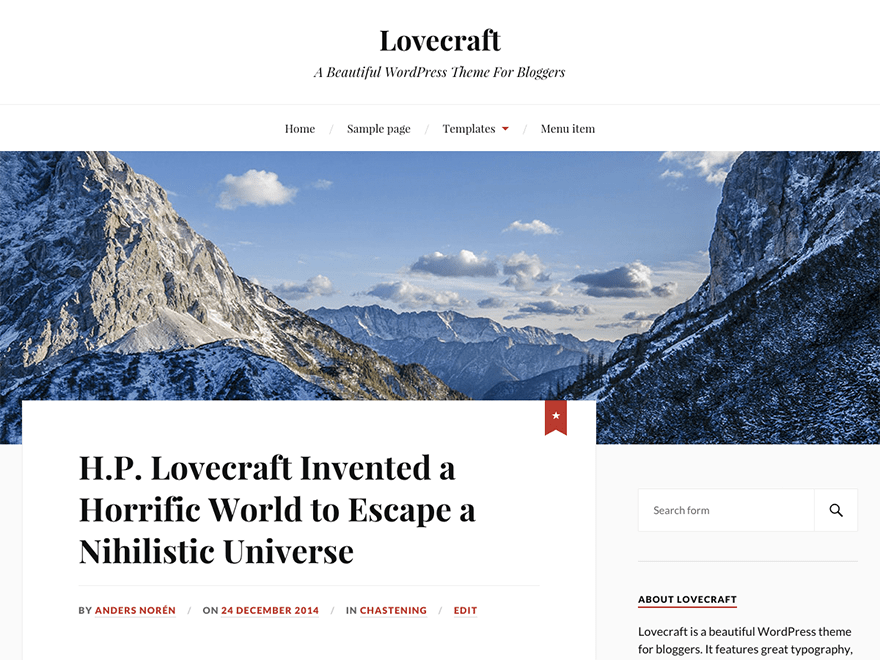 Lovecraft - A WordPress theme