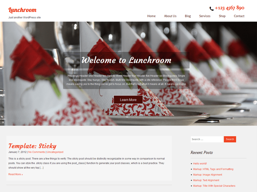 Lunchroom free wordpress theme