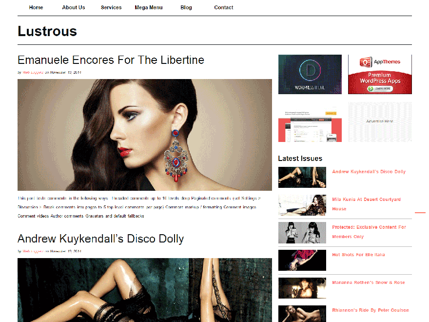 Lustrous free wordpress theme