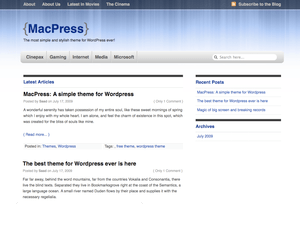 MacPress free wordpress theme
