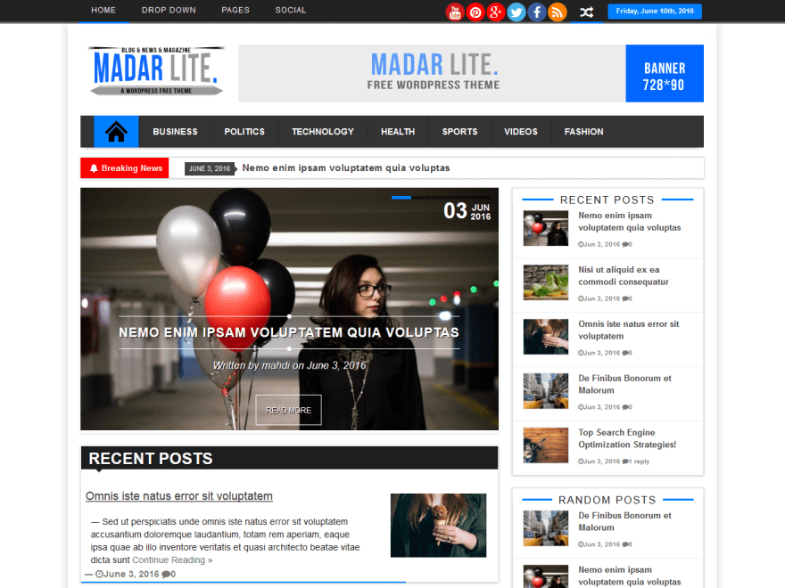 Madar Lite free wordpress theme