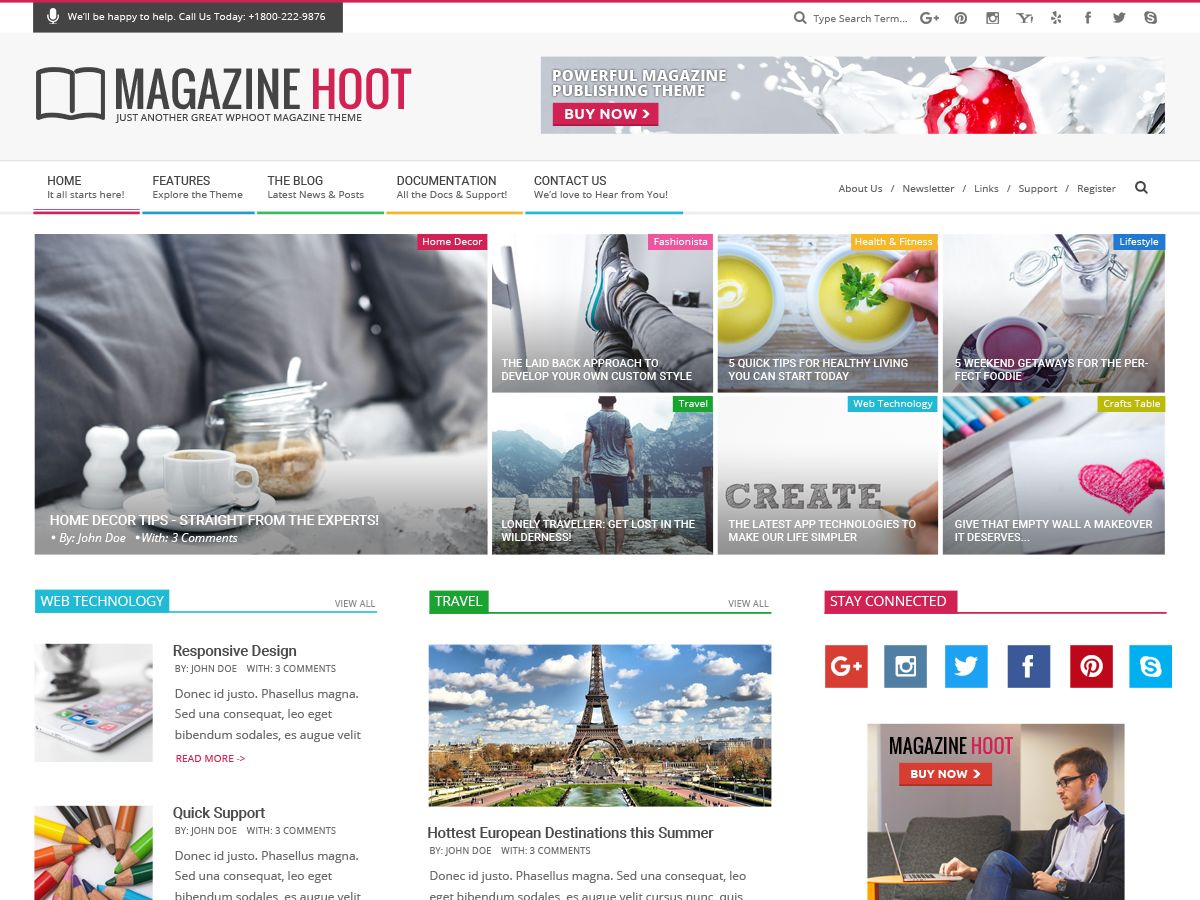 Magazine Hoot child theme