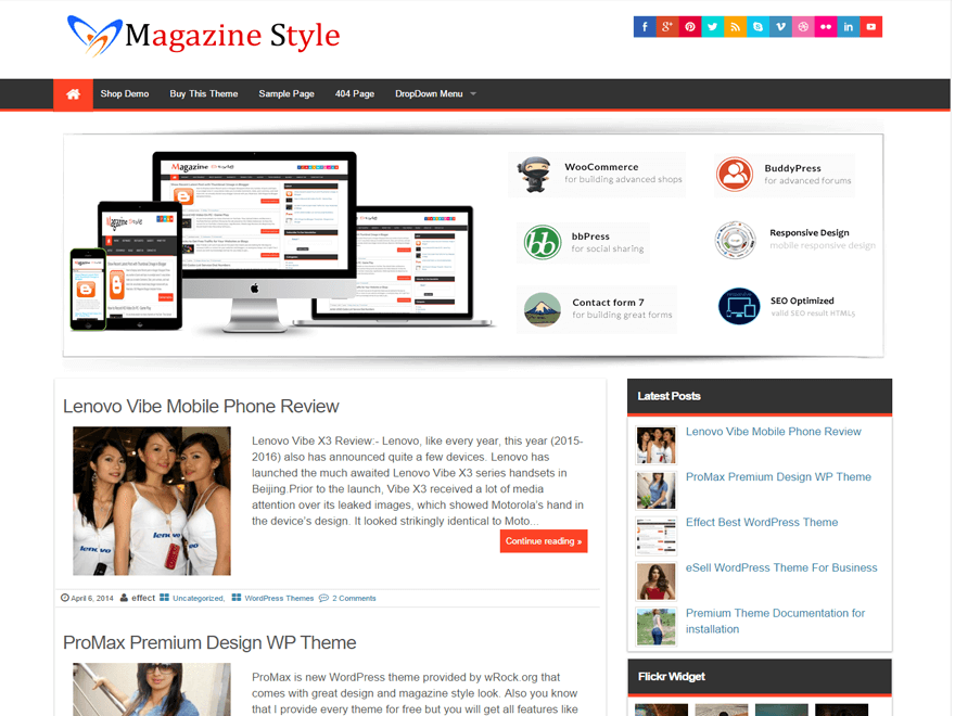 Magazine Style wordpress theme