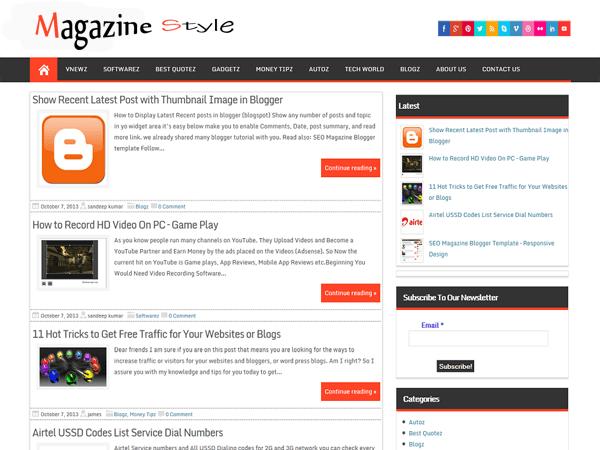 Magazine Style free wordpress theme