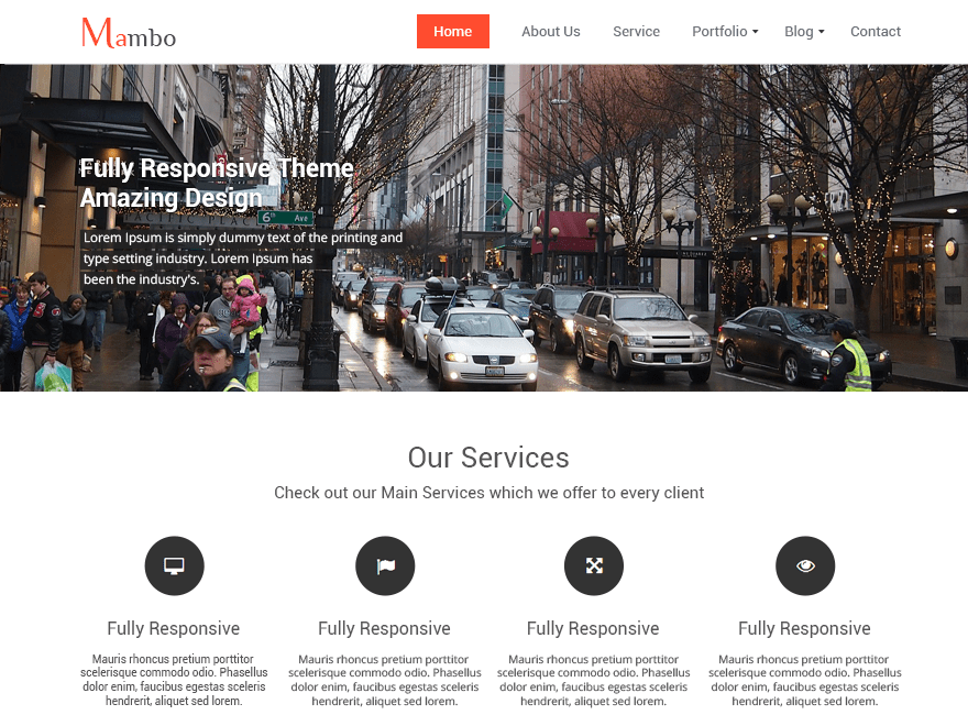Mambo free wordpress theme