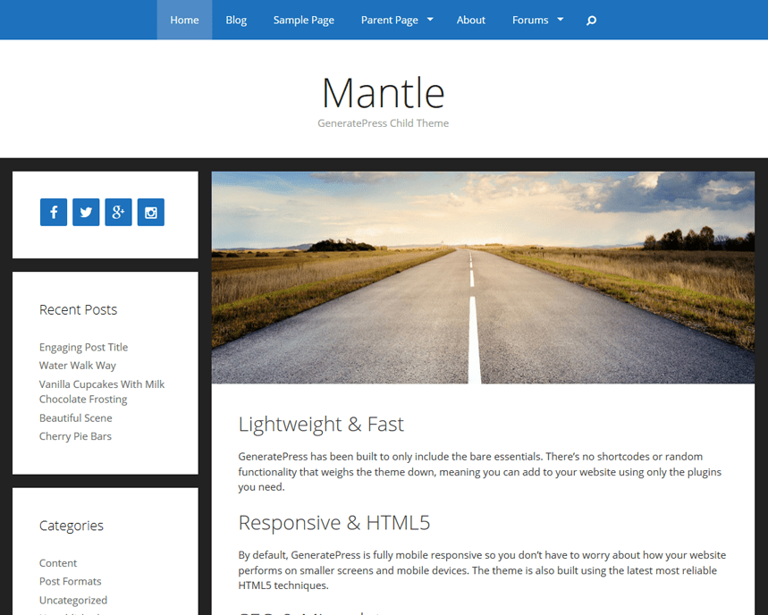 Mantle free wordpress theme