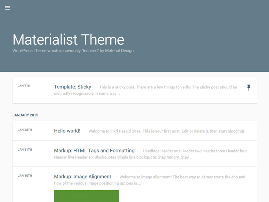 Materialist free wordpress theme