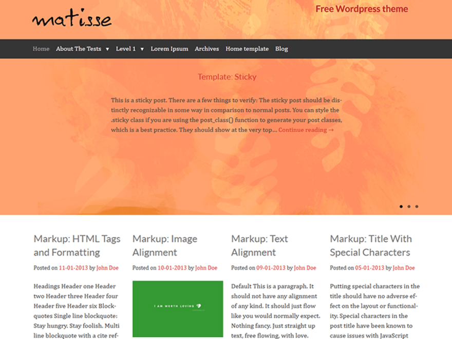 Matisse free wordpress theme