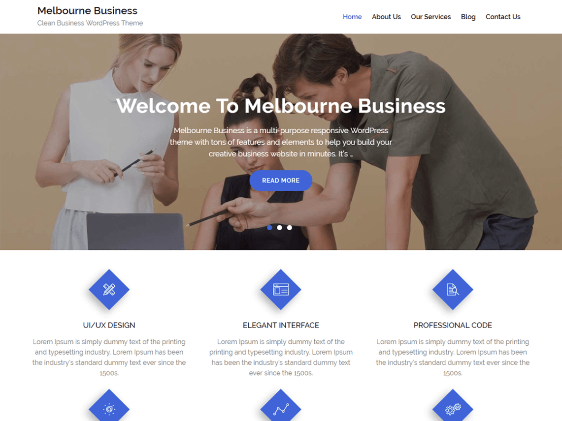 Melbourne Business Theme Free Download