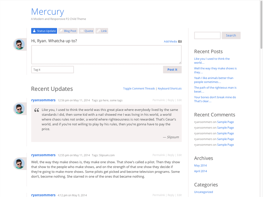 Mercury free wordpress theme