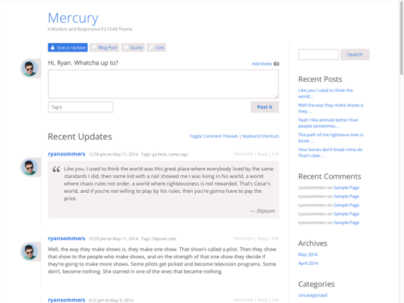 Mercury wordpress theme
