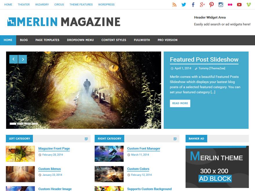 Merlin free wordpress theme