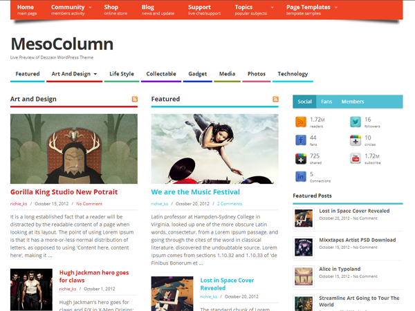 MesoColumn free wordpress theme