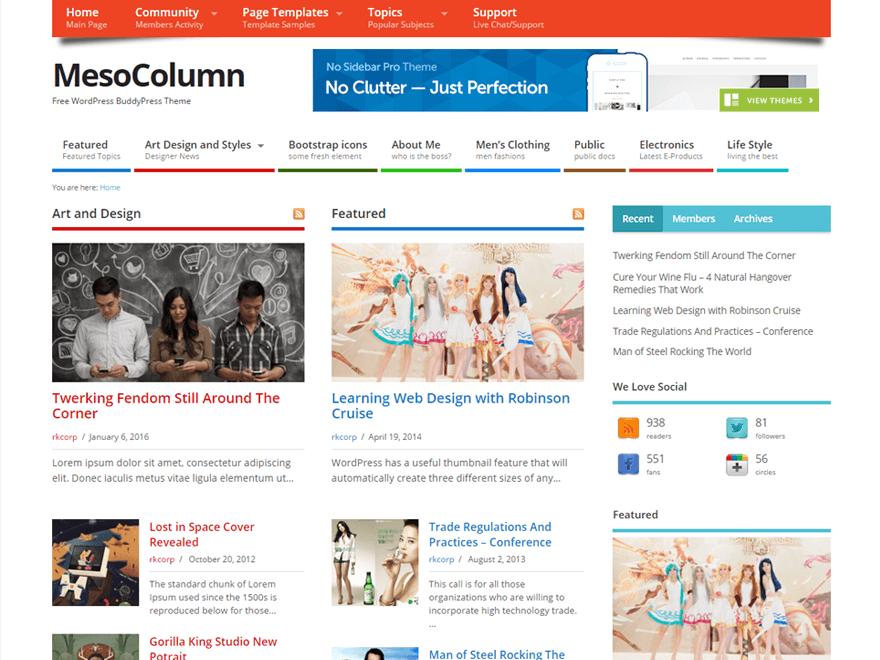 Mesocolumn wordpress theme