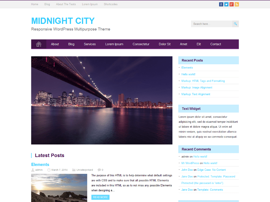 MidnightCity free wordpress theme