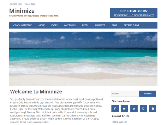 Minimize wordpress theme