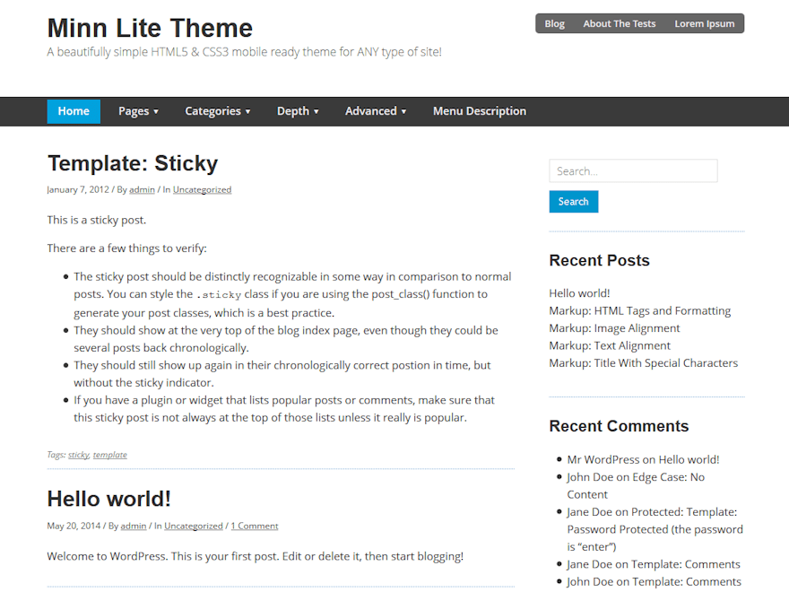 Minn Lite free wordpress theme