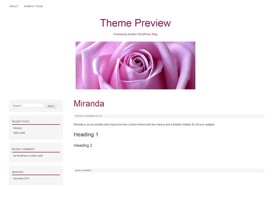 miranda free wordpress theme