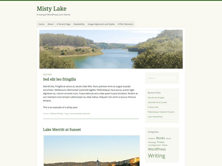 Misty Lake free wordpress theme