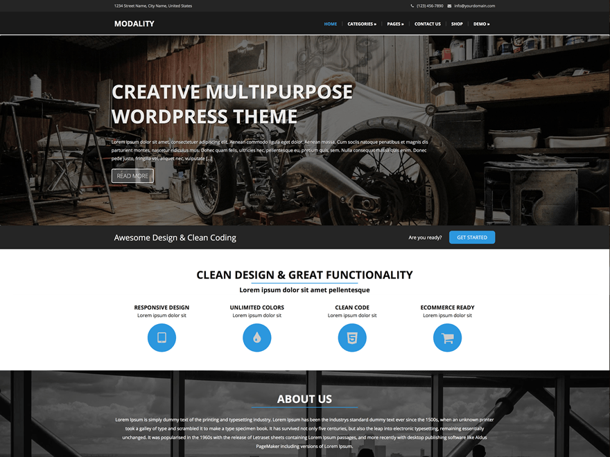 Modality free wordpress theme