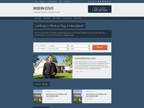 Modern Estate free wordpress theme