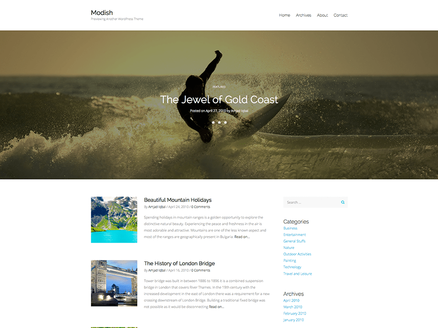 Modish free wordpress theme