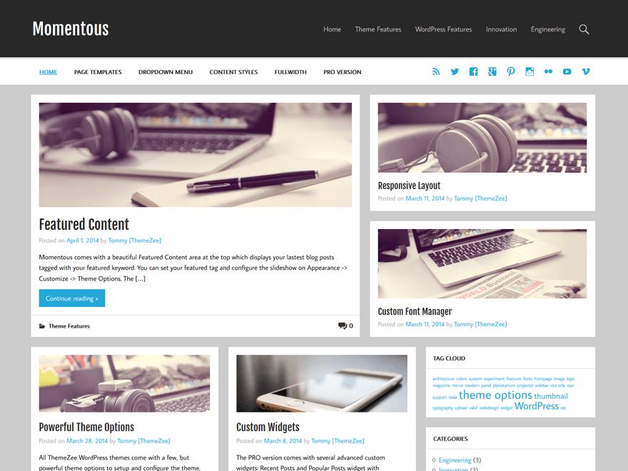 Momentous Lite free wordpress theme