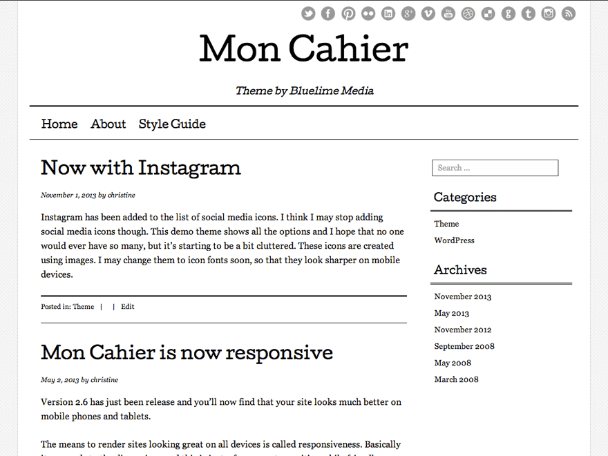 Mon Cahier free wordpress theme