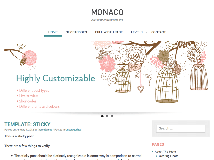 Monaco free wordpress theme
